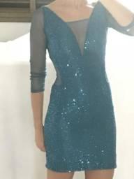 Vestido paetê turquesa