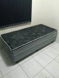 Cama Box de solteiro semi-nova (conjugada com molas)