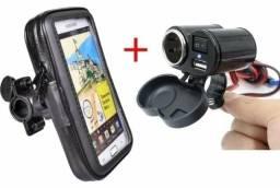 Kit Motoboy Suporte + Tomada USB Carregador 12v Gps Waze