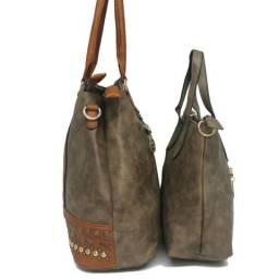 Bolsa feminina cor cinza e bolsa de mao
