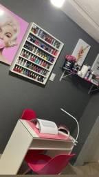 Kit Manicure Mesa Com Expositor De Esmalte & tampo de vidro 100% MDF