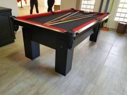 Mesa de Bilhar Charme Preta Tx Tecido Vermelho Modelo ODS4102