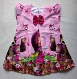 Vestido Temático Infantil Masha e o urso 3/4 anos *modelo trapézio