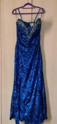 Vestido De Festa Azul Bordado Lantejoulas E Pedrarias