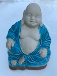 Escultura Buda Sorridente Antiga Porcelana Azul Chinesa
