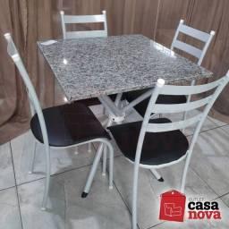 Mesa de Cozinha com Tampo Granito 4 Cadeiras Tubo White NOVO!