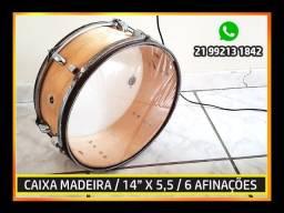 """Caixa de Madeira / Caixa Bateria 14"""" / Natural / 6 Afinações"""