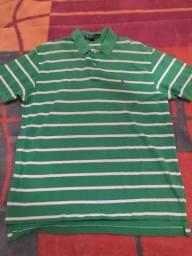Camisa Polo Ralph Lauren Original Listrada Verde Branco Tamanho G Impecável Zerada!