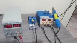 Fonte yaxun 305d e estaçao de ar quente com ferro de solda