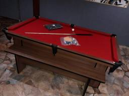 Mesa de Sinuca Cor Imbuia Tecido Vermelho 2,20 x 1,20 Modelo MME6787