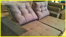 Sofá retrátil e reclinável 2m de tecido aveludado R$:1899,00