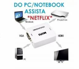 Mini Adaptador Conversor Vga P/ Hdmi Transmite Áudio E Vídeo