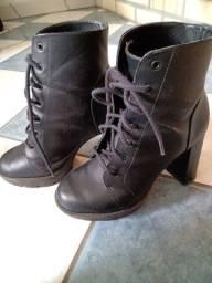 Bota preta alta coturno calçado feminino 36/37
