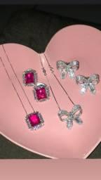 Conjunto pedra rosa, semi joia