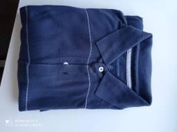 Camisa polo Tommy tamanho g azul com listrado em branco