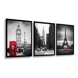 Título do anúncio: Kit Quadro Paris Londres New York