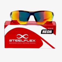 Título do anúncio: Óculos esporte neon vermelho espelhado
