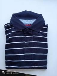 Camisa polo Tommy azul com listras brancas tamanho grande