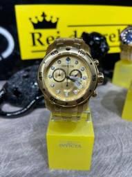 Relógio novo pro diver banhado ouro 18k