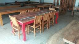 Mesa 100% peroba rosa demolição 2.50x1 c/ 8 cadeiras