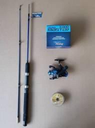 Conjunto para pesca (Média) com vara, molinete e linha