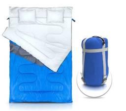 Saco de dormir NTK casal de temperaturas -5°C a 5°C com 2 travesseiros Kuple Azul