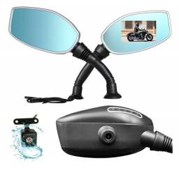 Kit Espelho Par Retrovisor Universal Moto Com Camera E Ré