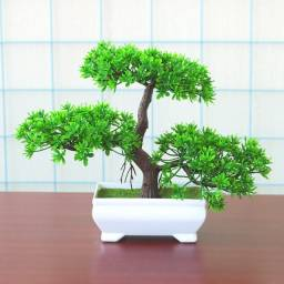 Bonsai Realista Artificial Mini Planta Folhas Verdes Vaso