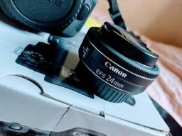 Canon 80D + flash + lente 24mm+ pilhas e carregador