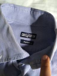 Camisa social manga longa azul claro