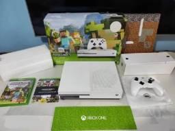 Xbox One S Branco completo na caixa com todos acessorios