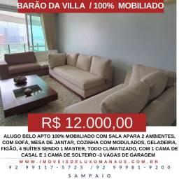 Sampaio Aluga-Barao da Villa M-O-B-I-L-I-A-D-O, com 4 suiítes, 3 vagas, andar alto