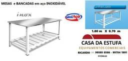 Título do anúncio: mesas e bancadas inox = diversas =novas com nf e garantia