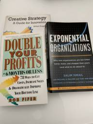 3 livros em inglês: creative strategy. double your profits. exponential organizations