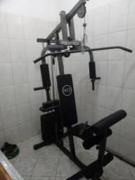 Título do anúncio: Estação  De Musculação + barra com 48kg de anilas   +1 aparelho para abdominal