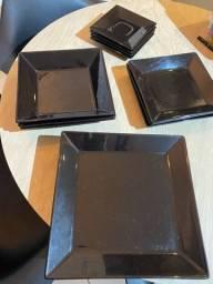 Conjunto de pratos quadrados oxford
