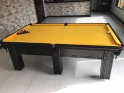 Mesa Madeira Maciça Cor Preta Tecido Amarelo Mod. HLPG4006