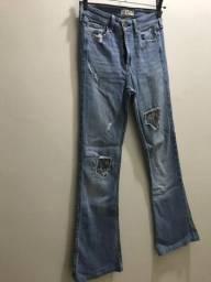 Calça jeans flare hollister