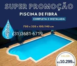 Ju-Super Promoção Piscina de fibra 7 M Instalada _casa de maquinas Montada Delluca Alpino