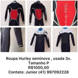 "Roupa de Borracha Surf Hurley Seminova 3""2' - P  R$ 1.000,00"