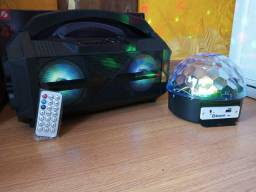 Caixa de som Bluetooth+Globo de luz com LED holográfico+FRETE GRATIS