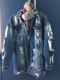 Máxi jaqueta jeans destroyed