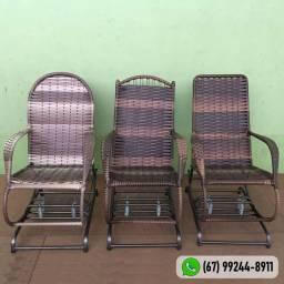 Cadeira De Balanço 4 Mola Junco Sintético