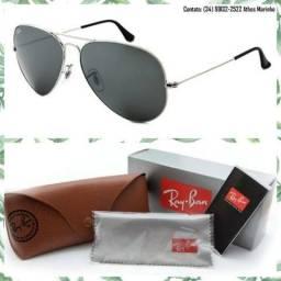 Óculos Ray-Ban Aviador 3025 (Lente preta/Armação prata)