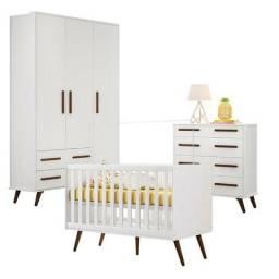 Quarto de Bebê Retrô Branco Brilho -Qmovi - Promoção - Embarque imediato
