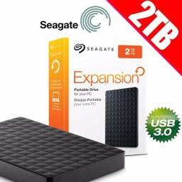 Disco rígido externo Seagate Expansion 2TB preto - Loja Natan Abreu