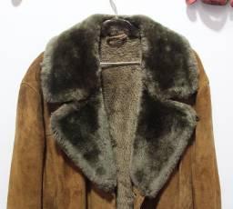 Sobretudo histórico em couro legítimo produzido na Alemanha Ocidental