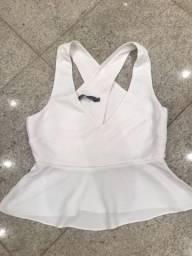 Blusa branca de crepe Espaço Fashion