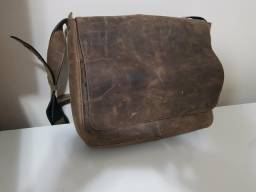 Bolsa carteiro couro genuíno