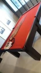 Mesa Madeira de Bilhar Cor Preta Tecido Vermelho Mod. TUQC9625